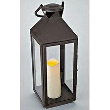 Metal Lantern with Flameless Pillar Candle with Timer