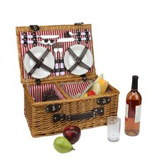 4 Person Hand Woven Honey Willow Insulated Picnic Basket