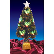 4' Color Changing Fiber Christmas Tree with LED Holly Berries