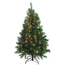 4.5' Green Cedar Pine Artificial Christmas Tree with Clear Light