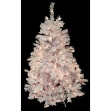 4.5' White Cedar Pine Artificial Christmas Tree with Clear Light
