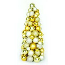 Shades of Gold Shatterproof Christmas Ball Ornament Table Top Cone Tree