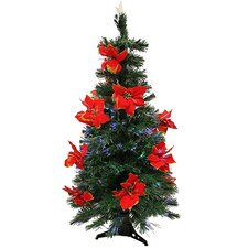 3' Pre-Lit Fiber Optic Artificial Christmas Tree with Red Poinsettias