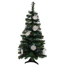 4' Artificial Christmas Tree with White Snowflakes Multi Light