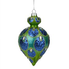 Regal Peacock Glittered Glass Teardrop Finial Christmas Ornament