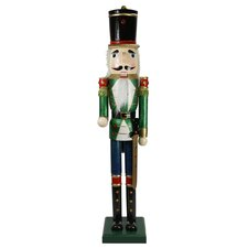 Decorative Green and Blue Glittered Wooden Christmas Nutcracker Soldier with Sword