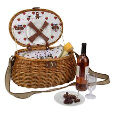 2 Person Hand Woven Oval Honey Willow Insulated Picnic Basket
