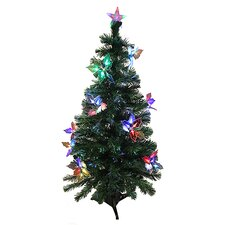 3' Pre-Lit Fiber Optic Artificial Christmas Tree with Flowers