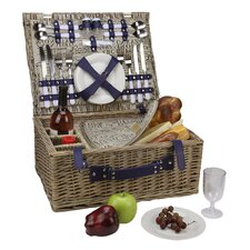4-Person Hand Woven Scripted Graphical Willow Insulated Picnic Basket Set with Accessories