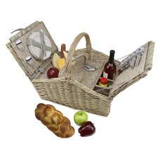 4 Person Hand Woven Willow Insulated Picnic Basket