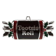 Tootsie Roll Candy Shaped Logo Christmas Ornament with European Crystal