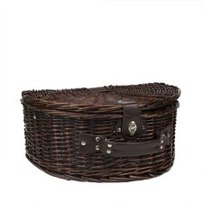 2 Person Hand Woven Chocolate Willow Insulated Picnic Basket