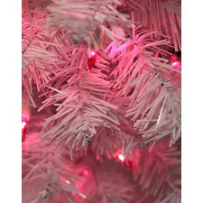 7.5' White Cedar Pine Artificial Christmas Tree with Pink Light
