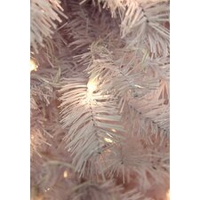 7.5' White Cedar Pine Artificial Christmas Tree with Clear Light
