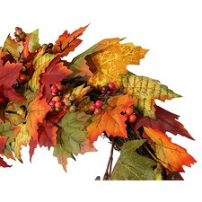 """36"""" Autumn Blessings Artificial Maple Leaf Berry and Acorn Thanksgiving Wreath"""