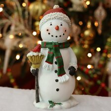Polyresin Snowman Holding Broom