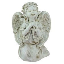 Praying Angel Girl with Cross Garden Statue