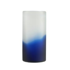 Cylindrical Hand Blown Frosted Glass Vase