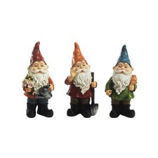 3 Piece Gardening Gnomes with Tools Statues