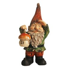 Forest Gnome Holding a Mushroom Garden Statue