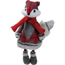 Plush Bouncy Red Plaid Girl Fox Decorative Christmas Tabletop Figure