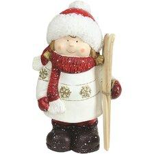 Christmas Morning Terracotta Girl with Skis Decorative Christmas Tabletop Figure