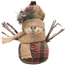 Plaid Snowman with Hat and Scarf Table Top Christmas Figure