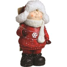Christmas Morning Terracotta Boy with Skis Decorative Christmas Tabletop Figure