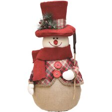Plaid Snowman with Shovel, Scarf and Top Hat Table Top Christmas Figure