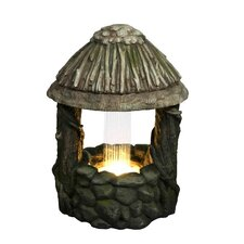 Resin and Fiberglass LED Lighted Nature's Wishing Well Spring Outdoor Water Fountain