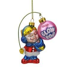 Candy Lane Charms Blow Pop Girl Orignal Bubblegum-Filled Lollipop Glass Christmas Ornament