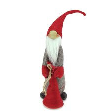 Tall Standing Santa Gnome Holding Bag in Front Christmas Figure