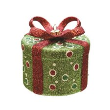 Merry and Bright Glitter Polka-Dot Round Gift Box Christmas Ornament