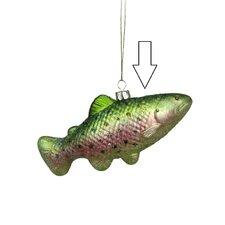 Under the Sea Glittered Metallic Green Spotted Fish Glass Christmas ornament