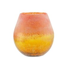 Crackled and Coral Frosted Hand Blown Glass Vase