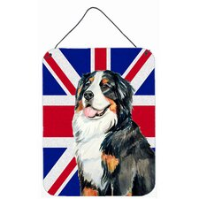 Bernese Mountain Dog with English Union Jack British Flag by Lyn Cook Graphic Art Plaque