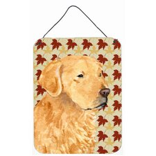 Golden Retriever Fall Leaves Portrait  by Suzanne Staines Graphic Art Plaque