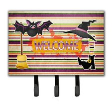 Witch Costume and Broom on Stripes Halloween Leash Holder and Key Hook