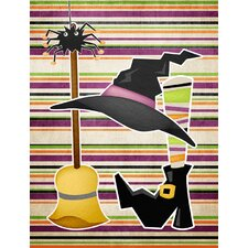 Witch Costume and Broom on Stripes Halloween House Vertical Flag