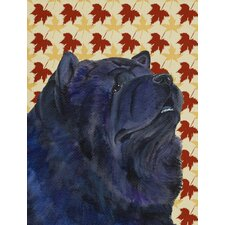 Chow Chow Fall Leaves House Vertical Flag