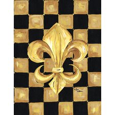 Black and Gold Fleur de lis checkered 2-Sided Garden Flag