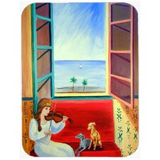 Italian Greyhounds with Mom and Violin Glass Cutting Board