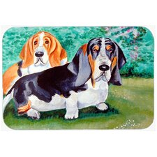 Basset Hound Double Trouble Glass Cutting Board
