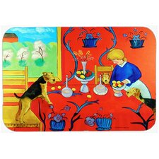 Airedale Terrier with Lady in the Kitchen Glass Cutting Board
