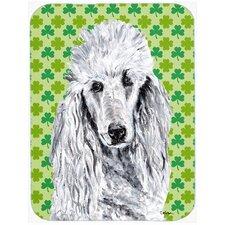 Shamrock Lucky Irish Standard Poodle St. Patrick's Day Glass Cutting Board