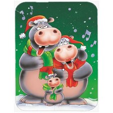 Hippo Family Caroling Glass Cutting Board