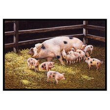 Pigs Piglets at Dinner Time Mat