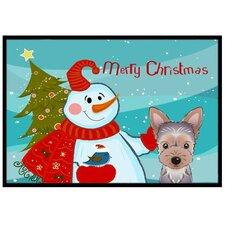 Snowman with Yorkie Puppy Mat