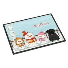 Merry Christmas Carolers Pug Doormat