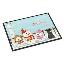 Merry Christmas Carolers Miniature Schnauzer Doormat